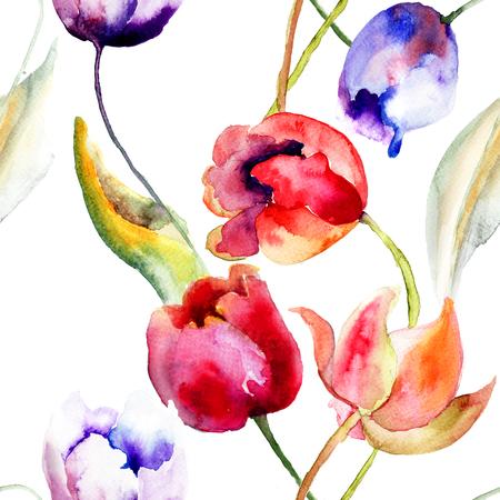 Watercolor illustration of Tulips flowers, seamless pattern  illustration