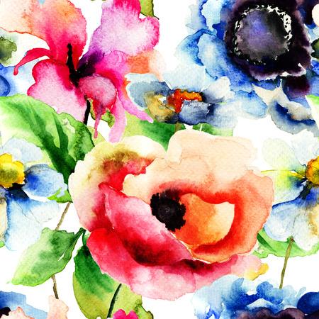 水彩イラスト花とのシームレスなパターン 写真素材