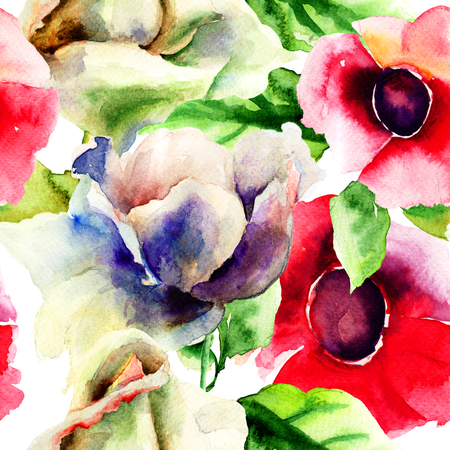 Original seamless wallpaper with wild flowers, watercolor illustration  illustration