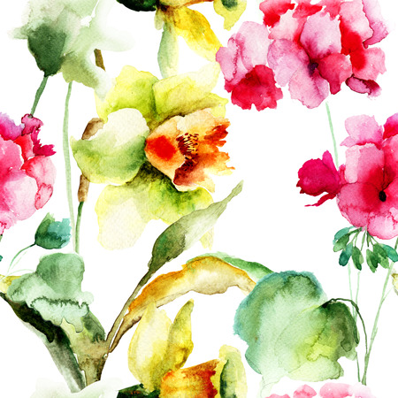 Watercolor seamless wallpaper with Geranium and Narcissus flowers photo