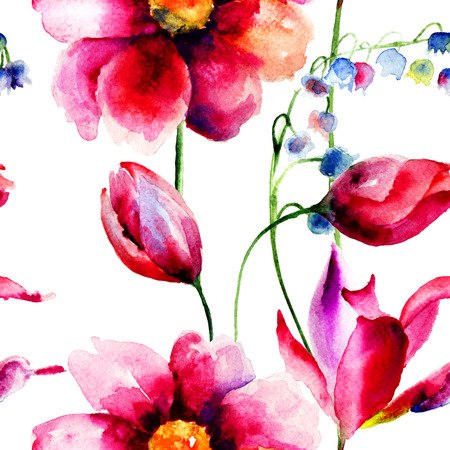 Seamless pattern with spring flowers, watercolor illustration  illustration