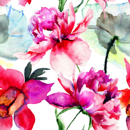 Seamless pattern with Popy and Peony flowers, Watercolor painting  photo