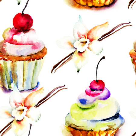 custard: Watercolor illustration of cake, seamless pattern Stock Photo