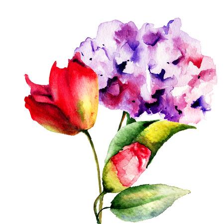Original Summer flowers, watercolor illustration  illustration