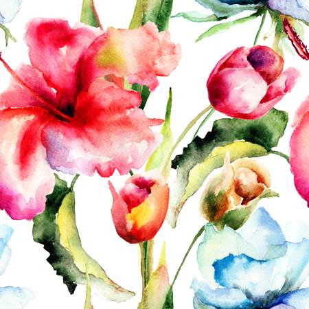 Seamless wallpaper with original flowers, watercolor illustration  illustration