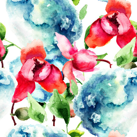 Seamless pattern with Orchid and Hydrangea blue flowers, watercolor illustration  illustration