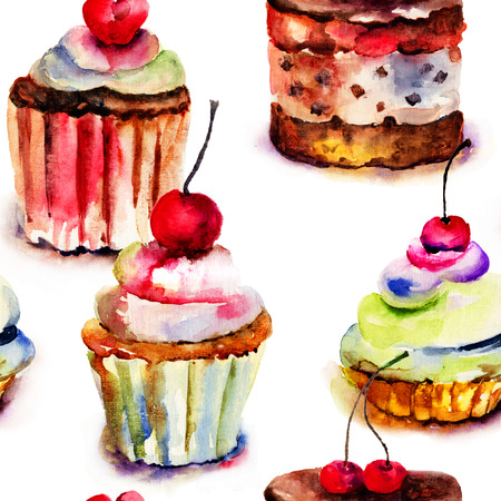 Seamless pattern with cake, watercolor illustration  illustration