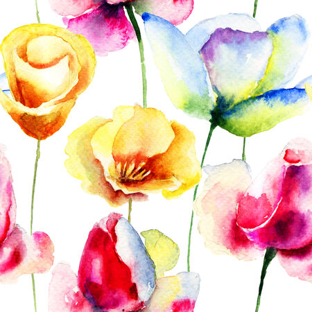 Colorful seamless pattern with flowers, watercolor illustration  illustration
