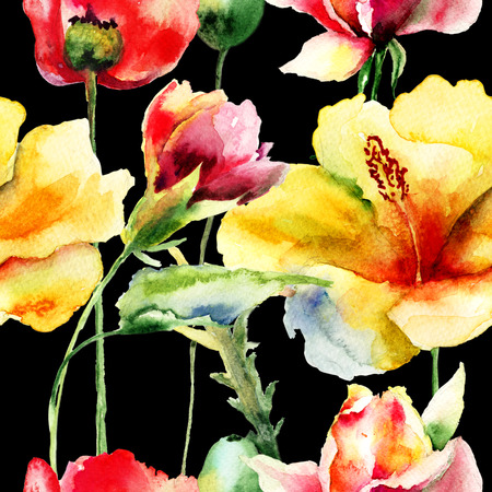 Floral seamless pattern, watercolor illustration  illustration