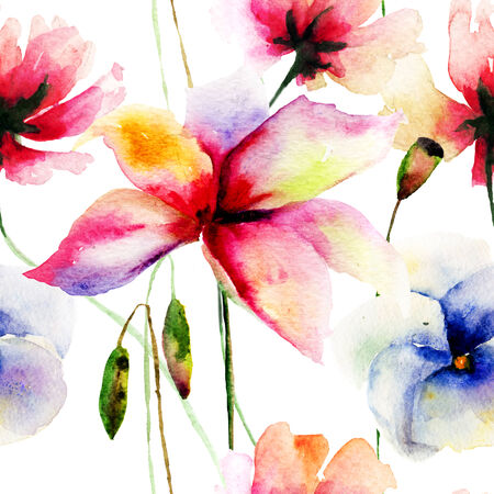 Seamless wallpaper with wild flowers, watercolor illustration  illustration