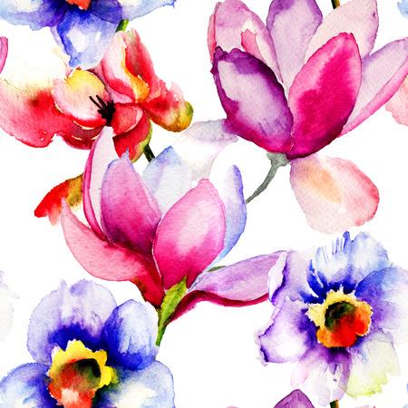 装飾花、水彩イラストのシームレス パターン 写真素材