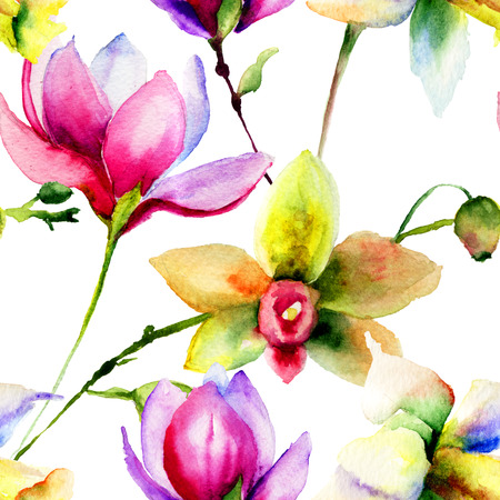 Seamless pattern with Decorative flowers, watercolor illustration  Archivio Fotografico