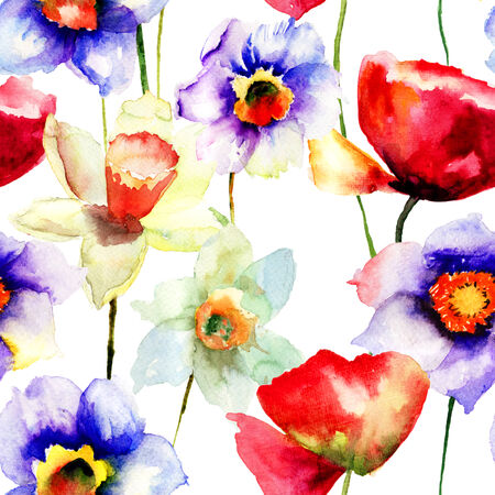 poppy pattern: Stylized Narcissus and Poppy flowers illustration, seamless pattern