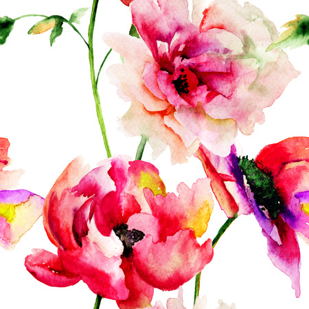 painting wall: Seamless wallpaper with Colorful flowers, watercolor illustration  Stock Photo