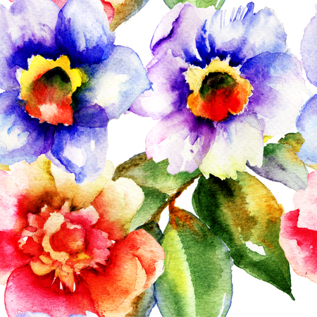 Watercolor painting with Roses and Narcissus flowers, seamless pattern  photo