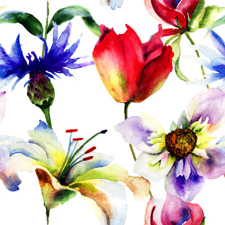 Seamless pattern with spring flowers, Watercolor painting  photo