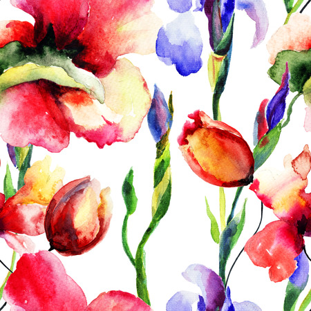 Seamless wallpaper with summer flowers, Watercolor painting  photo