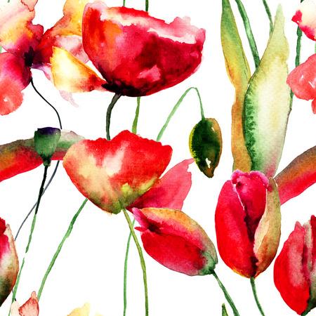 Stylized Tulips and Poppy flowers illustration, seamless pattern illustration