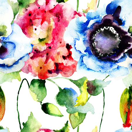 Seamless wallpaper with Beautiful flowers, watercolor illustration illustration