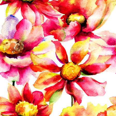 painting wall: Seamless wallpaper with flowers, watercolor illustration