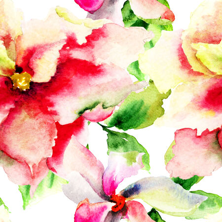 Seamless pattern with Decorative flower, watercolor illustration  illustration