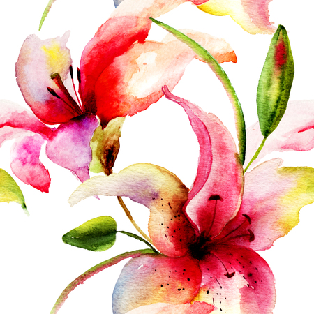 flower structure: Seamless pattern with Original Lily flower, watercolor illustration Stock Photo