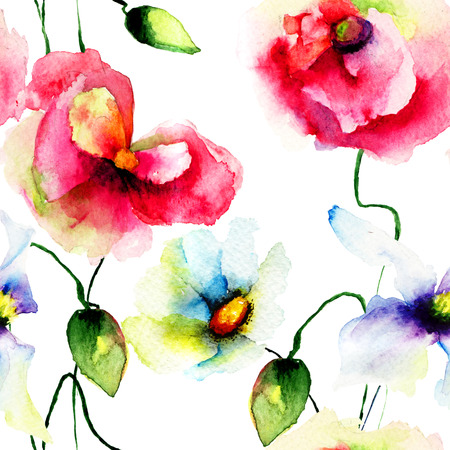 Seamless wallpaper with Daisy and Poppy flowers. Watercolor illustration  illustration