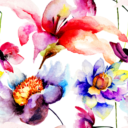 Seamless wallpaper with flowers, watercolor illustration  illustration