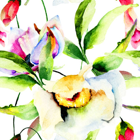 Seamless wallpaper with wild flowers. Watercolor illustration  illustration