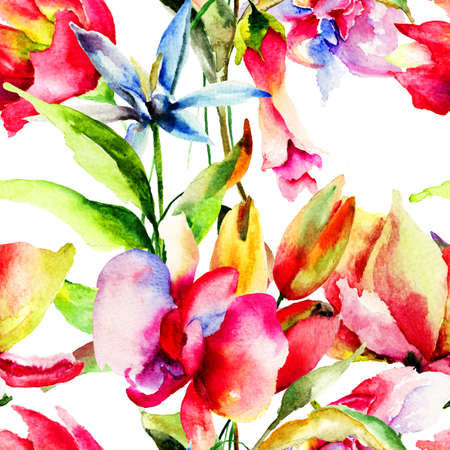 Seamless pattern with Decorative flowers, watercolor illustration  illustration