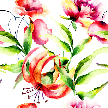 Seamless wallpaper with wild flowers, watercolor illustration  Imagens