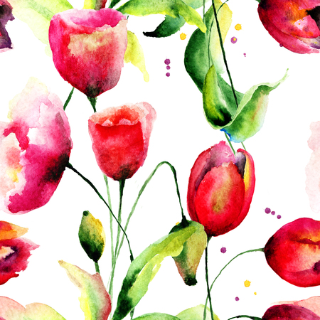 Tulips and Poppy flowers illustration, seamless pattern  illustration
