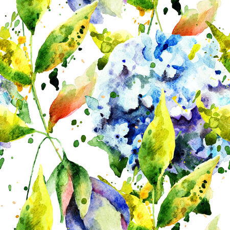 Seamless wallpaper with Hydrangea flowers, watercolor illustration  illustration