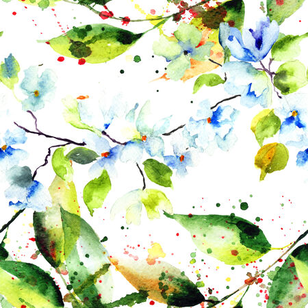 Spring seamless pattern with flowers, watercolor illustration  illustration