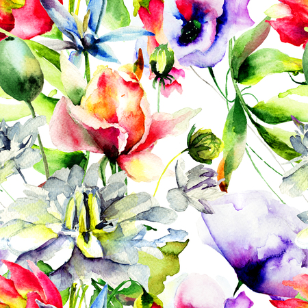 Watercolor illustration with wild flowers. Seamless pattern Stock Photo