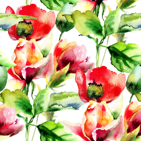 fabric painting: Seamless wallpaper with Rose and Poppy flowers, watercolor illustration Stock Photo