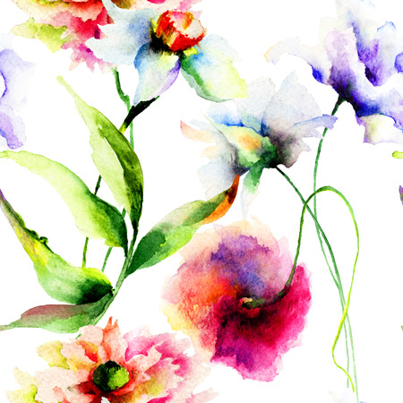 Summer seamless pattern with flowers, watercolor illustration   illustration
