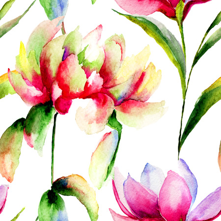 Seamless pattern with Magnolia and Peony flowers, watercolor illustration illustration