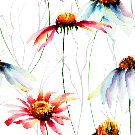 Watercolor illustration with Gerberas flowers, seamless pattern illustration