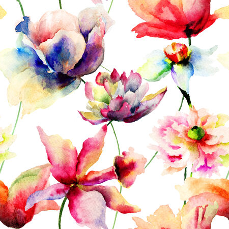 Seamless wallpaper with stylized flowers, watercolor illustration illustration