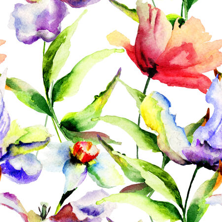 Seamless wallpaper with Tulips and Narcissus flowers, watercolor illustration illustration