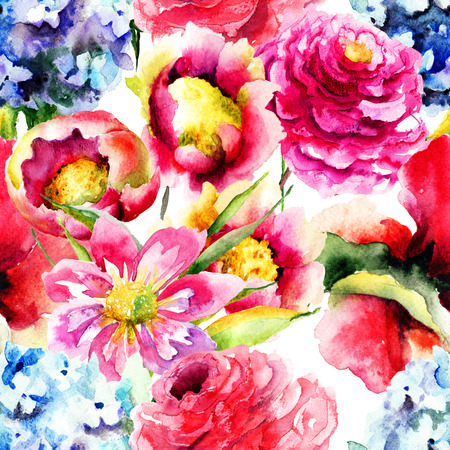 Seamless wallpaper with spring flowers, Watercolor painting photo