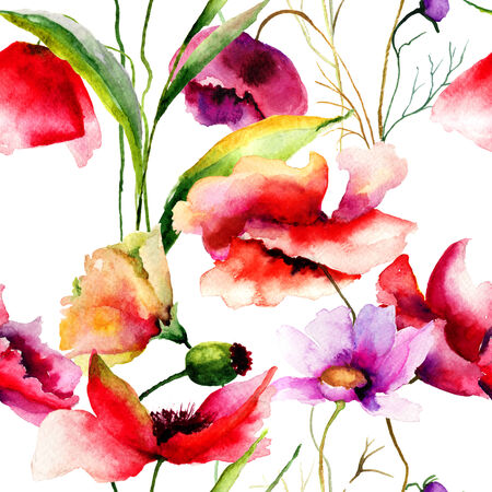 Seamless pattern with Poppies and Gerber flowers, watercolor illustration illustration