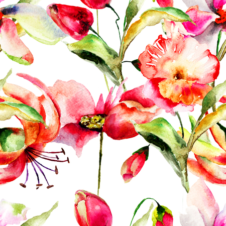 Seamless pattern with stylized flowers,watercolor painting photo