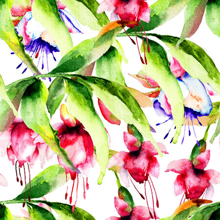 campanula: Seamless pattern with Campanula flowers, watercolor illustration Stock Photo