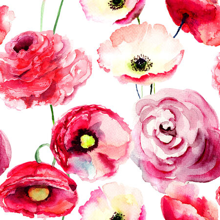 Seamless wallpaper with Colorful red flowers, watercolor illustration illustration
