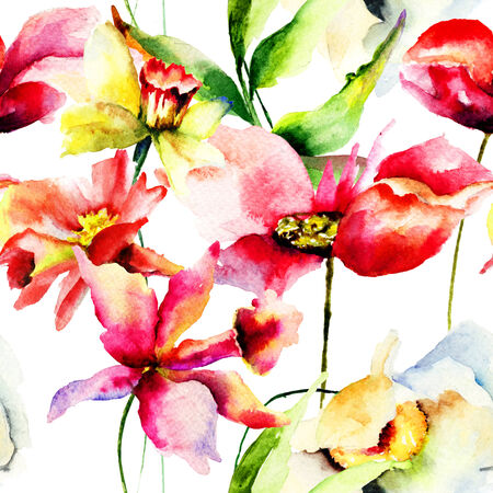 Seamless wallpaper with Colorful Spring flowers, watercolor illustration illustration