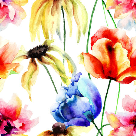 Watercolor illustration with wild flowers. Seamless pattern illustration