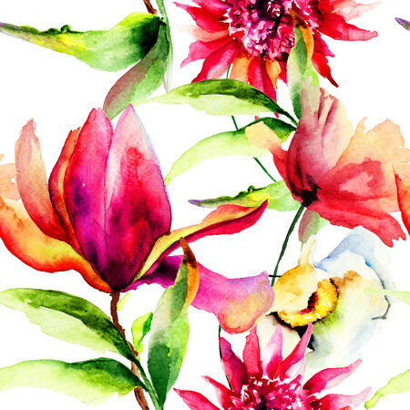 Seamless wallpaper with Colorful Summer flowers, watercolor painting photo
