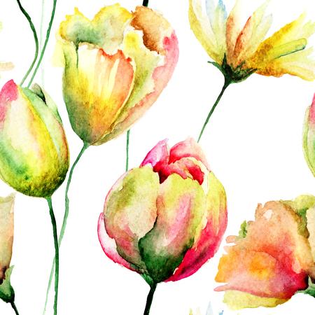 Floral seamless pattern, watercolor illustration illustration